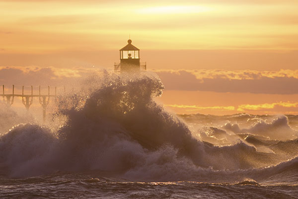 Waves Crashing into the Lighthouse