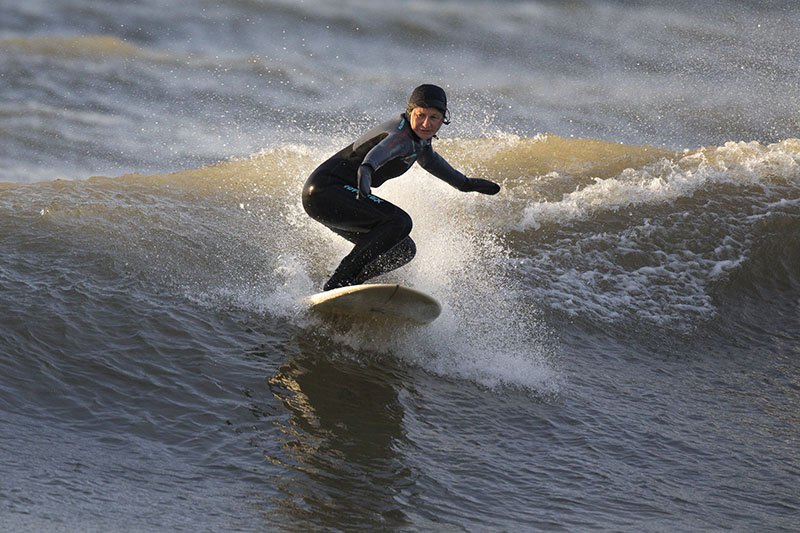 Surfing Lake Michigan